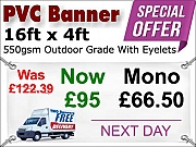 16ft x 4ft PVC Banner Special Offer