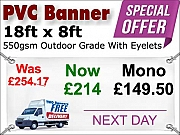 18ft x 8ft PVC Banner Special Offer