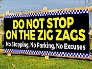 DO NOT STOP ON THE ZIG ZAGS