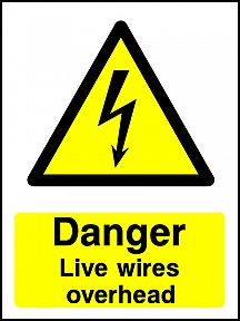 Danger Overhead Wires Portrait