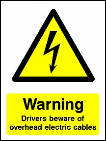 Warning Drivers Overhead Cables Portrait