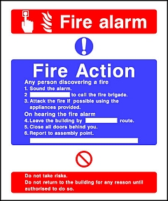 Fire Action Fire Alarm Sign Hfe Signs Amp Banners