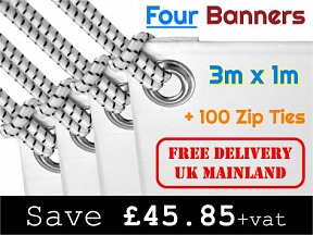 Four 3m x 1m Banners