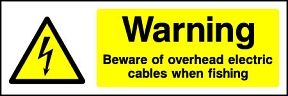 Warning Beware Of Overhead Electric Cables When Fishing Landscape